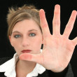 Beautiful Business Woman with Hand Palm Out in Front of Her - Stock Photo