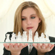 Beautiful Twenty Five Year Old Business Woman With Chess Set — Stock Photo