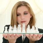 Beautiful Twenty Five Year Old Business Woman With Chess Set — Stock Photo