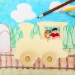 Toy Wooden Train with Boy and Dog — ストック写真