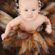 Baby Girl in Animal TuTu - Stock Photo