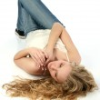 Beautiful Young Woman Laying On White Floor — Stock Photo