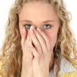 Beautiful Blonde Hiding Mouth — Stock Photo