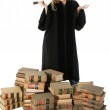 Female Judge and 70 Year Old Law Books — Stock Photo