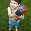 Boy Playing with Water Gun — Stock Photo