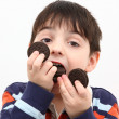 图库照片: Boy Eating Cookies