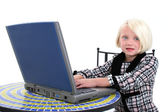 Beautiful Young Girl In Business Suit Working On Laptop — Stock Photo