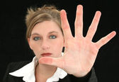Beautiful Business Woman with Hand Palm Out in Front of Her — Stock Photo