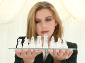 Beautiful Twenty Five Year Old Business Woman With Chess Set — Photo
