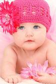 Piękna dziewczyna 4 miesiąc życia dziecka — Zdjęcie stockowe