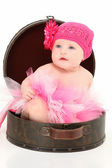 Beautiful Baby Girl in Travel Case — Stock Photo
