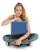Angry with Laptop — Stock Photo