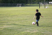 Boy on Soccer Field — Stock Photo
