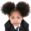 Beautiful Little Business Woman In Jacket And Tie — Stock Photo