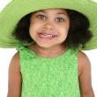 Beautiful Young Girl In Big Green Hat — Stock Photo