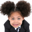 Beautiful Little Business Woman In Suit And Tie — Stock Photo