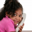 Beautiful Little Girl on Phone — Stock Photo