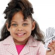 Adorable Little Girl and Money - Stock Photo
