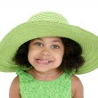 Beautiful Three Year Old Girl In Big Green Hat — Stock Photo