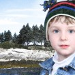 Happy Boy in Winter Clothes at Lake Park in Snow — Stock Photo #12830578