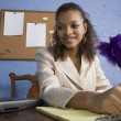 Attractive African American Teen Girl at Desk — Stock Photo #12830585