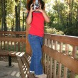 Child at Park Taking Photos - Stock Photo