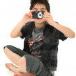Young Boy Child Photographer with Digital Camera — Stock Photo