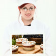 Culinary Student with Laptop - Stock Photo
