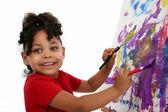 красивая девочка живопись — Стоковое фото