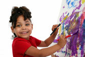 Beautiful Little Girl Painting — Стоковое фото