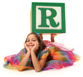 Girl with Alphabet Block Letter R — Stock Photo