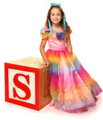 Alphabet Blocks Letter S with Beautiful Girl — Stock Photo