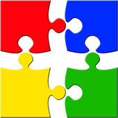 четыре кусок головоломки над белым разделенных — Стоковое фото