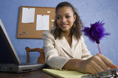 Attractive African American Teen Girl at Desk — Stock Photo
