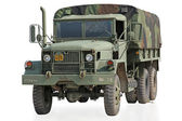 Bizi izole kırpma yolu ile askeri kamyon — Stok fotoğraf