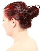 Bright Red Hair Color Piled on Young Woman's Head — Stockfoto