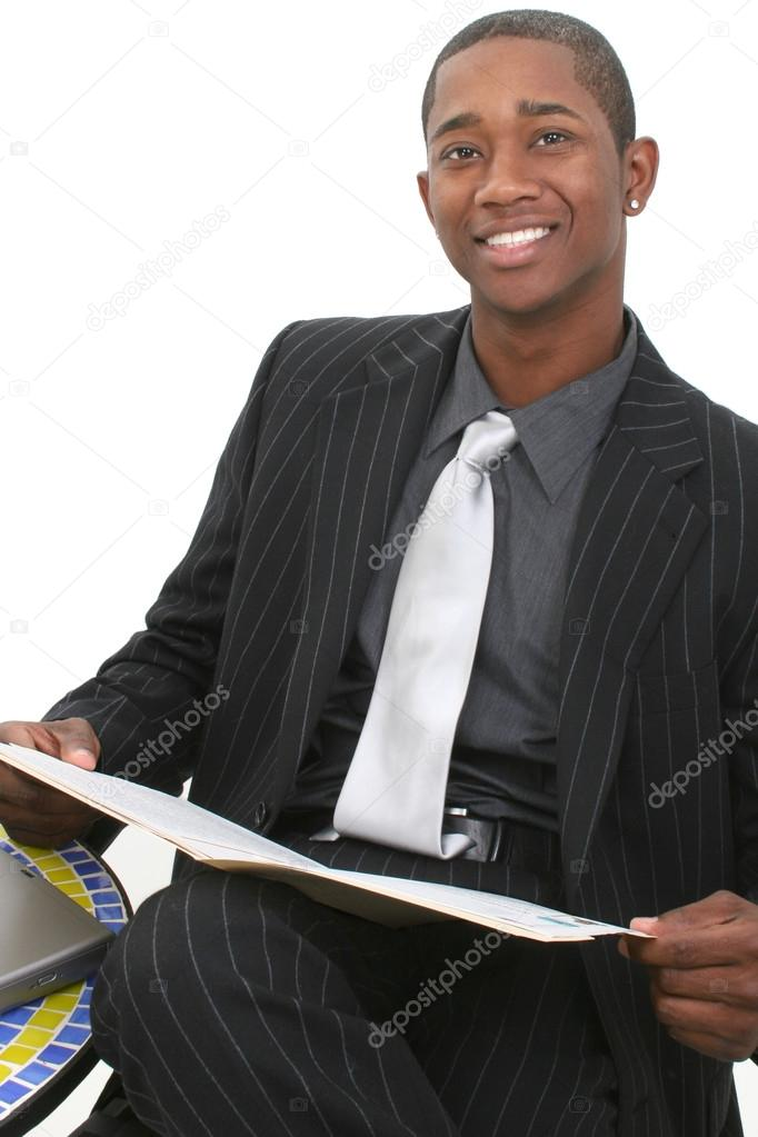 Attractive Business Man In Suit With File Folder And Big Smile — Stock Photo #12891924