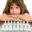 Beautiful Little Girl With Glass Chess Board — Stock Photo