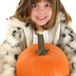 ストック写真: Beautiful Five Year Old Girl With Pumpkin