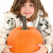 Stock Photo: Beautiful Five Year Old Girl With Pumpkin