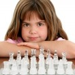 Beautiful Little Girl With Glass Chess Board — Foto de Stock