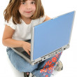 Beautiful Five Year Old Girl Sitting On Floor with Laptop — Stock Photo
