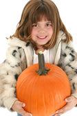 Beautiful Five Year Old Girl With Pumpkin — Stock Photo