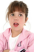 Beautiful Five Year Old Girl Looking Surprised — Stock Photo