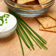 Chives with Crackers and Sour Cream — Stock Photo