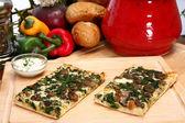 Spinach and Portobello Mushroom Pizza — Stock Photo