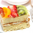 Glazed Fruit Topped Cake — Stockfoto