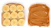 Open Peanut Butter and Banana Sandwich — Stock Photo