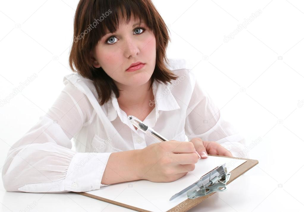 Beautiful young woman with clipboard and pen. — Stock Photo #13097375
