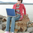 Outdoors with Laptop — 图库照片
